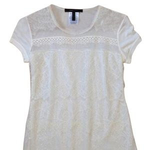 BCBGMAXAZRIA Rylan Top Sheer Layered Laced Tee